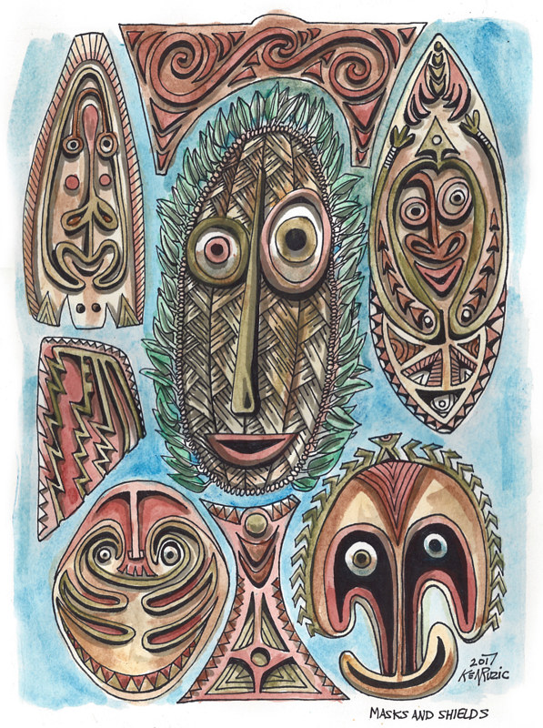 Watercolor Masks and Shields by Kenneth M Ruzic
