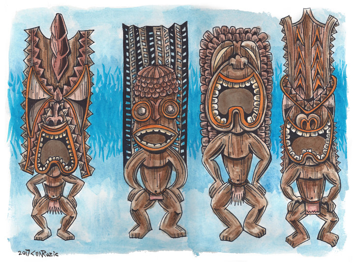 Watercolor Four Hawaiian Gods by Kenneth M Ruzic