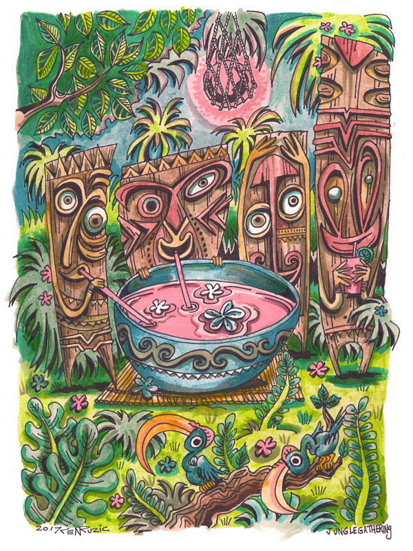 Watercolor Jungle gathering by Kenneth M Ruzic