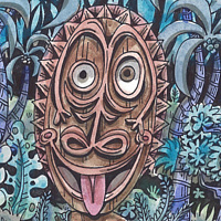 Watercolor the Laughing Idol by Kenneth M Ruzic