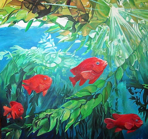 Acrylic painting Underwater Parade by Nancy Sharp