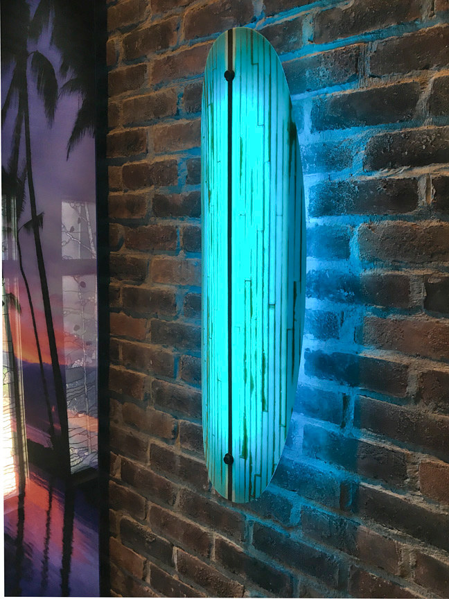 Surf board sconce by Dan Cummings