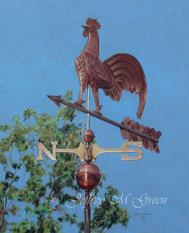 "© Jeffrey M Green. ""Which Way is the Wind Blowing"", 16"" x 20"", colored pencils on blue Mi-Teintes board. by Jeffrey Green"