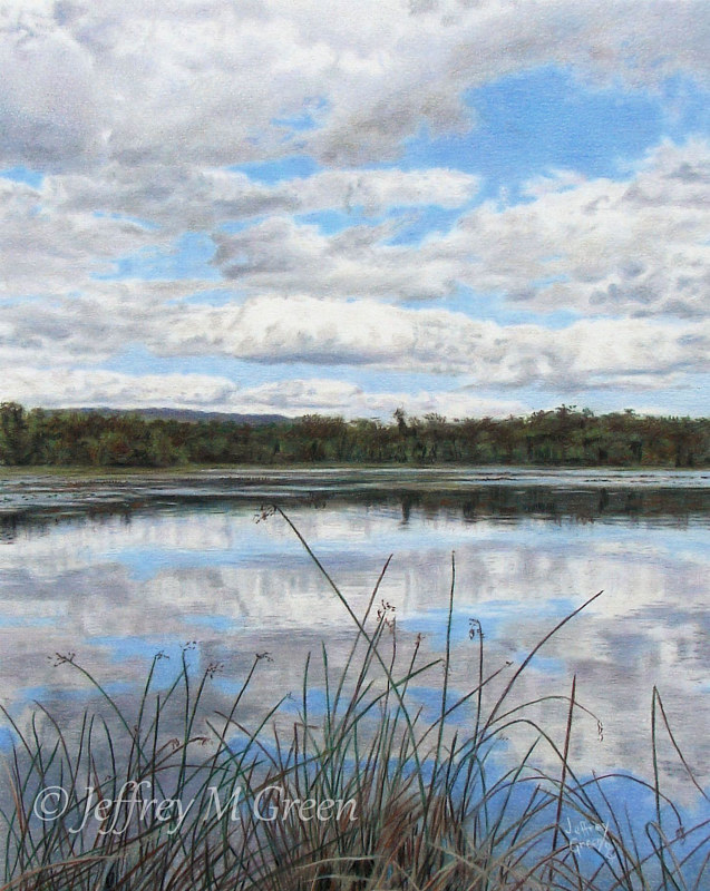 "© Jeffrey M Green. ""Lakeside"", 11"" x 14', colored pencils. by Jeffrey Green"