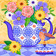 From My Garden: Flowers in Teapot with Bird  by Valerie Lesiak