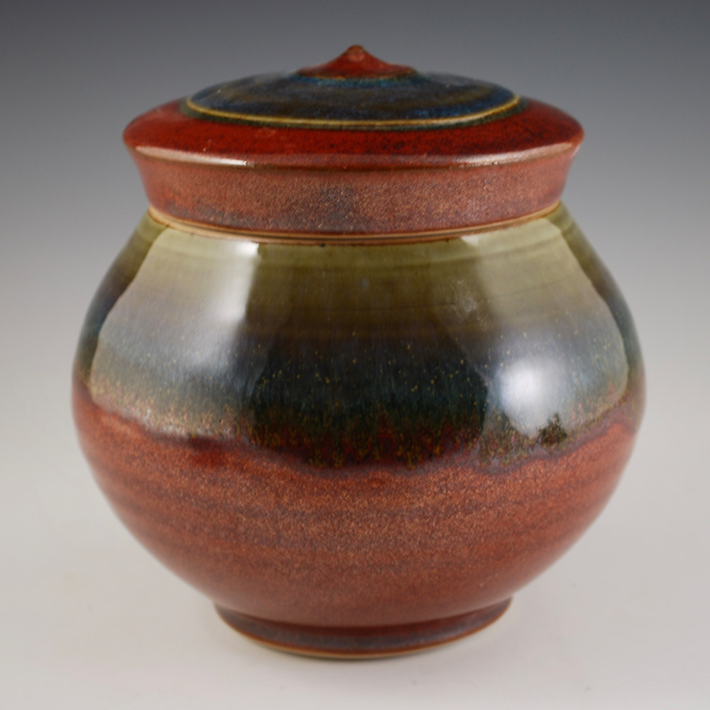 Rust Red Lidded Jar with Breakfast Blue by Mark  Goertzen
