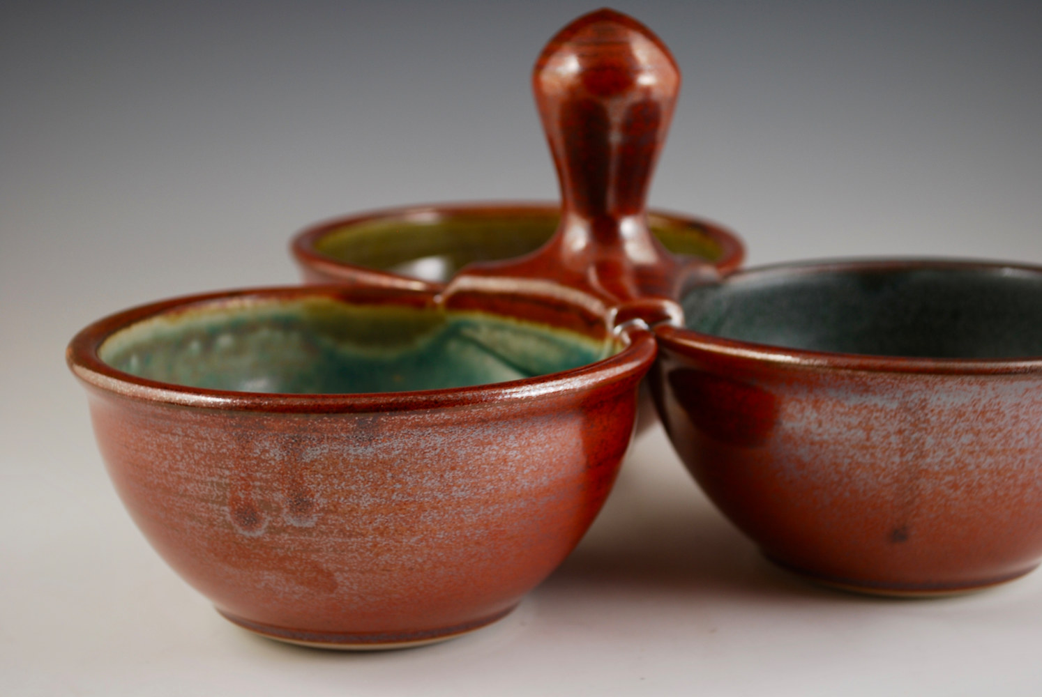 Rust Red Triple Dip with Turquoise Stone, Breakfast Blue, and Verdant by Mark  Goertzen