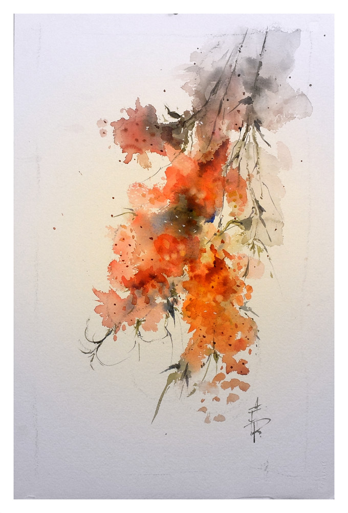 Blossom 7 55x36cm watercolour by Anne Farrall Doyle