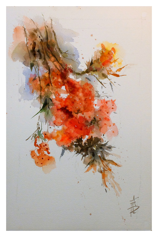 Blossom 8 55x36cm watercolour by Anne Farrall Doyle