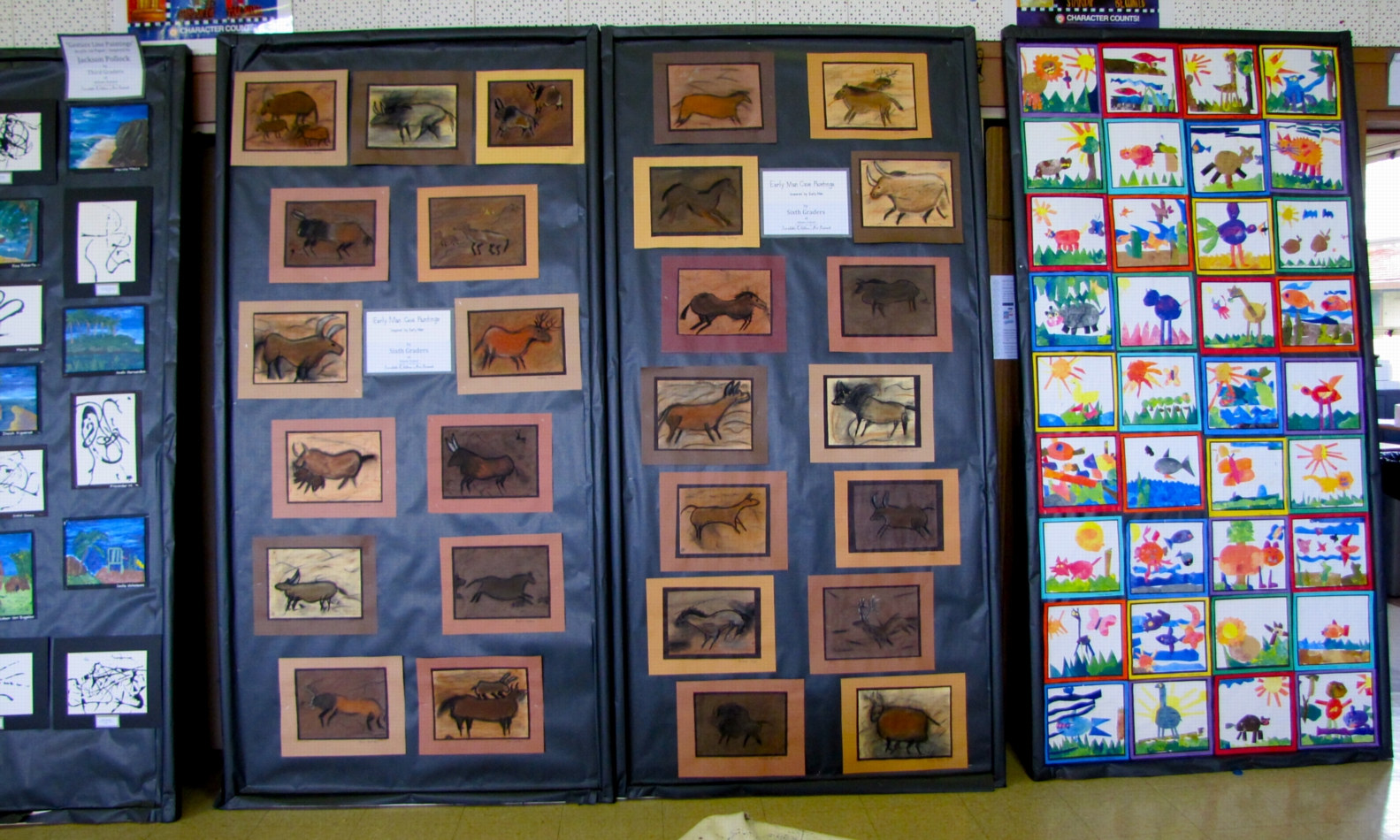 Adams School Arts Festival 2011 - Gr 5 cave art and Gr. K Painted Paper Collage Paintings by Linnie (Victoria) Aikens Lindsay