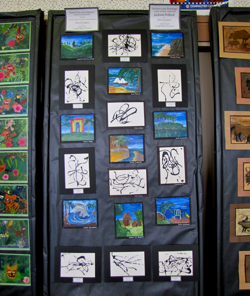 Adams School Arts Festival 2011 - Gr. 3 Picasso Line Gesture and Acrylic local cityscape paintings by Linnie (Victoria) Aikens Lindsay