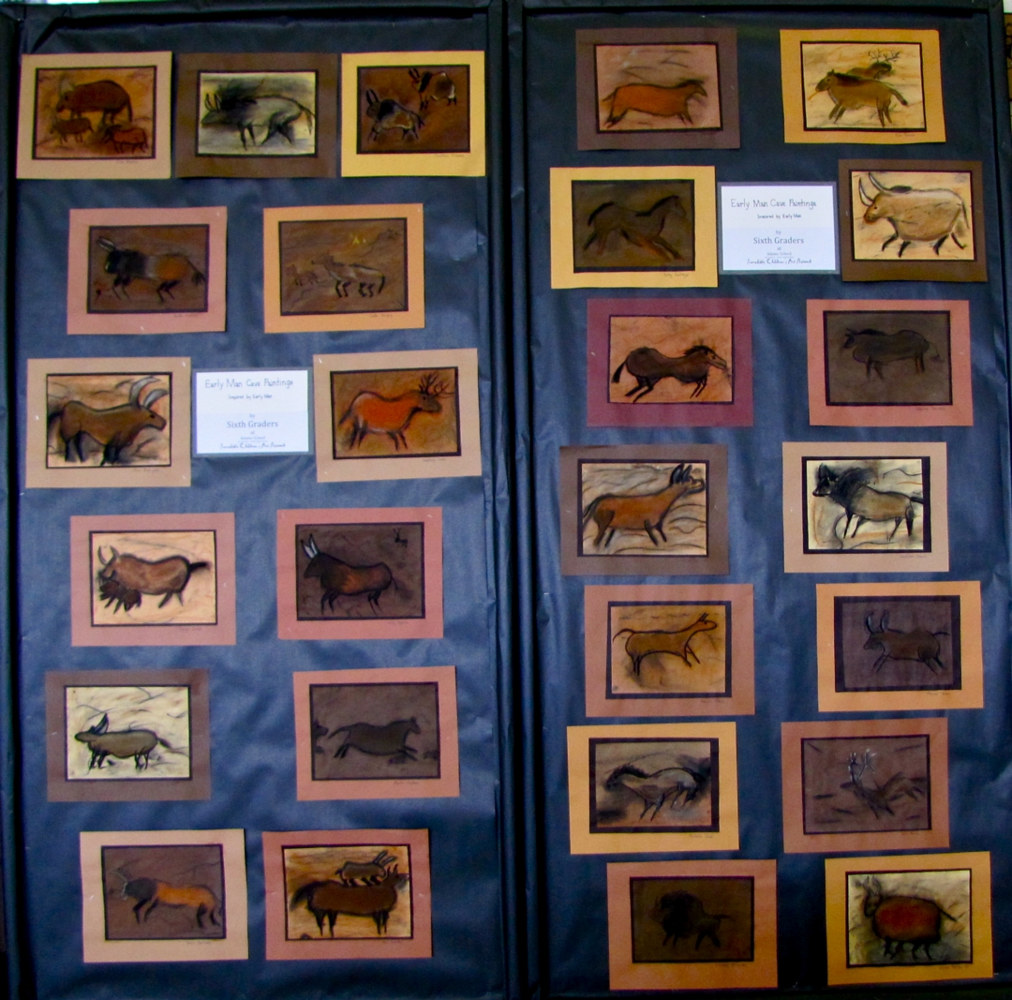 Adams School Arts Festival 2011 - Grade 6 Cave Paintings by Linnie (Victoria) Aikens Lindsay
