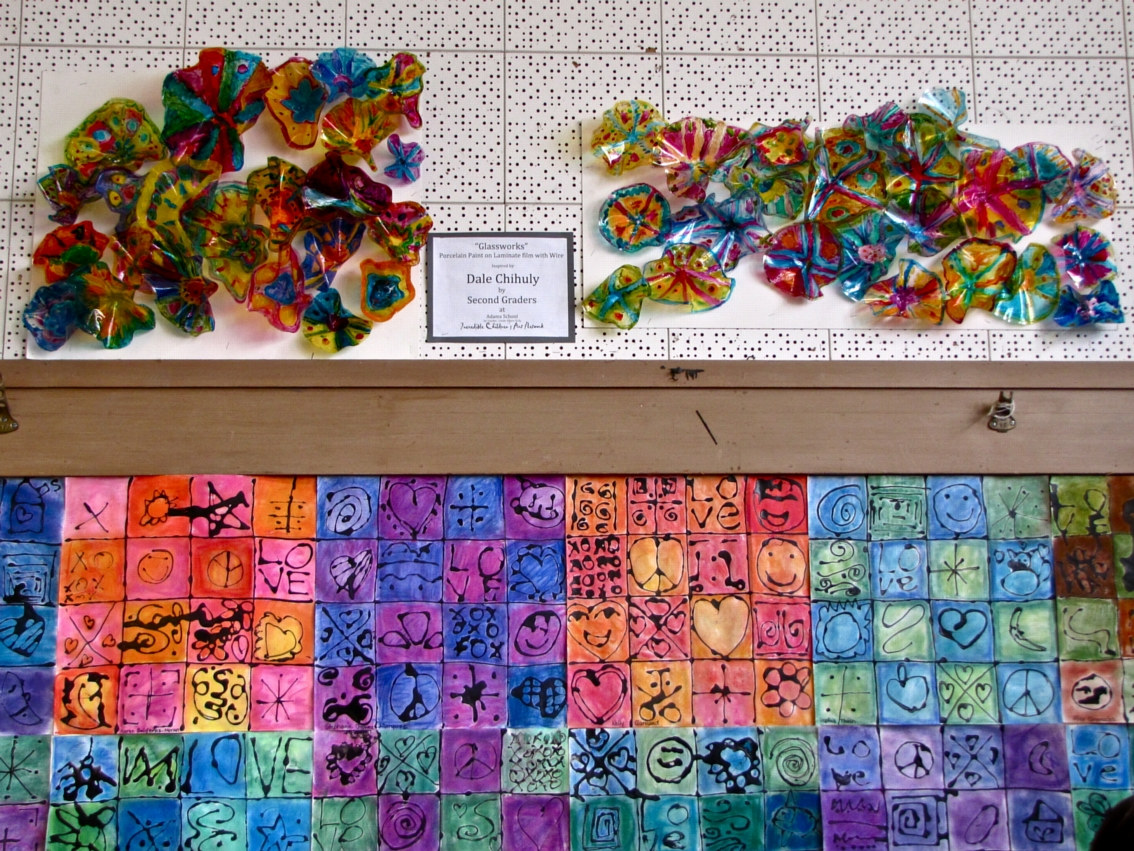 Adams School Arts Festival 2011- Grade 2 Chihuly glass and LOVE quilt exhibits by Victoria Avila