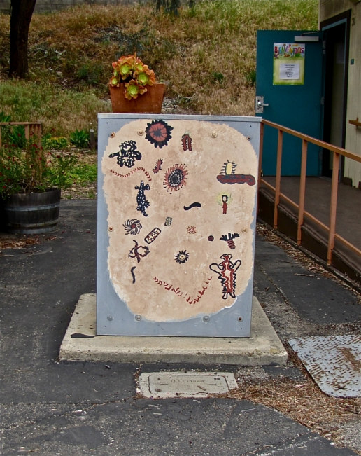 School Beautification - Chumash Symbols on electrical box by Linnie (Victoria) Aikens Lindsay