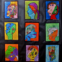 Gr.1-Picasso Portraits in Oil Pastel by Linnie (Victoria) Aikens Lindsay
