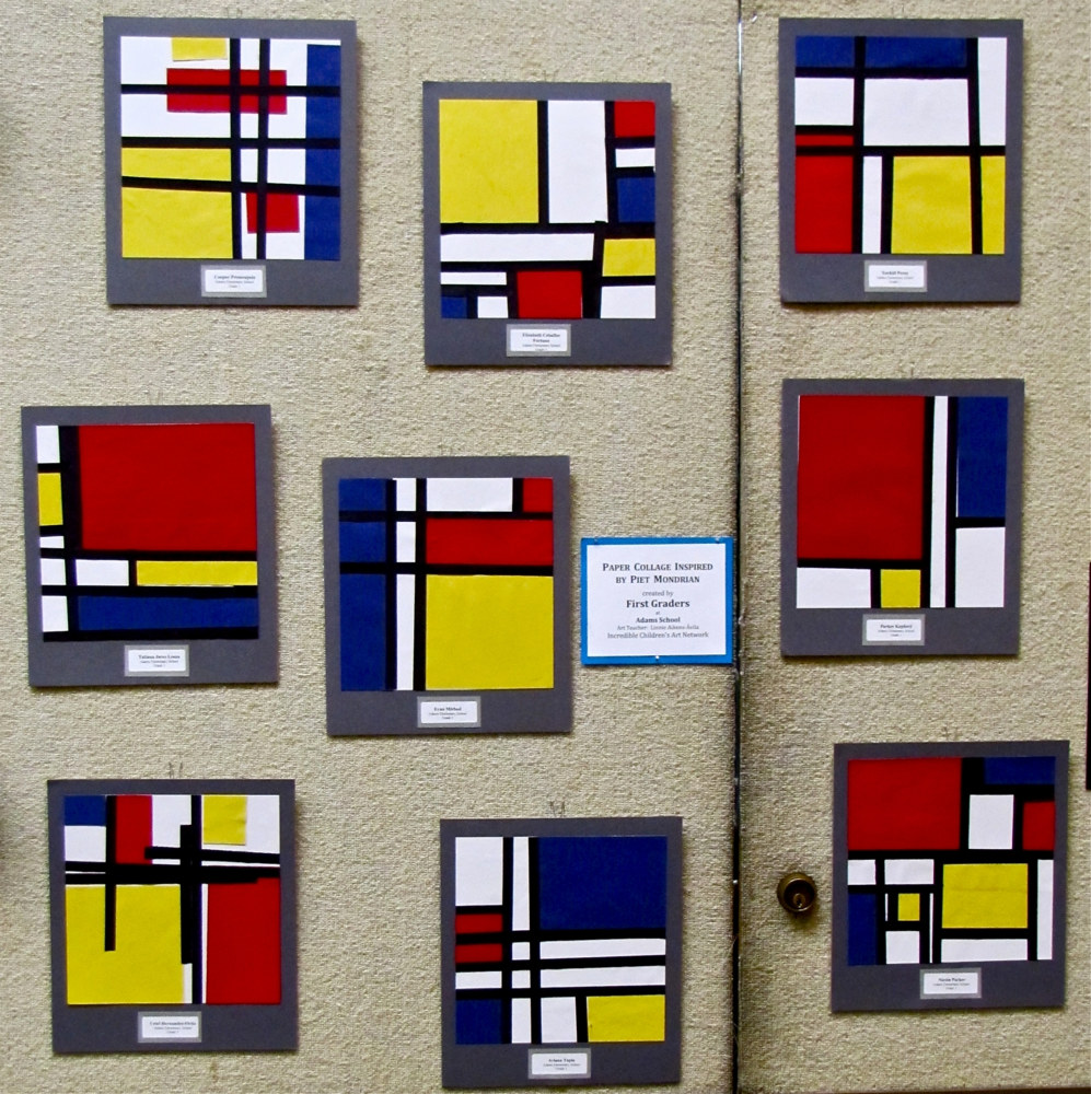 Gr.1-Mondrian Paper Collages by Linnie (Victoria) Aikens Lindsay