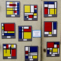 Gr.1-Mondrian Paper Collages by Victoria Avila
