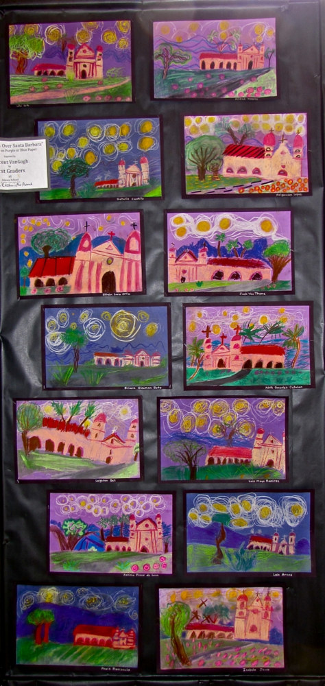 Gr.1-Starry Night over the Santa Barbara Mission in Chalk Pastel by Linnie (Victoria) Aikens Lindsay