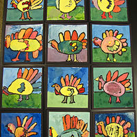 Gr.1-Turkeys in tempera on paper by Linnie (Victoria) Aikens Lindsay