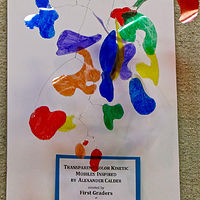 Gr.1-Calder Mobiles - Organic shapes on plastic lids by Linnie (Victoria) Aikens Lindsay