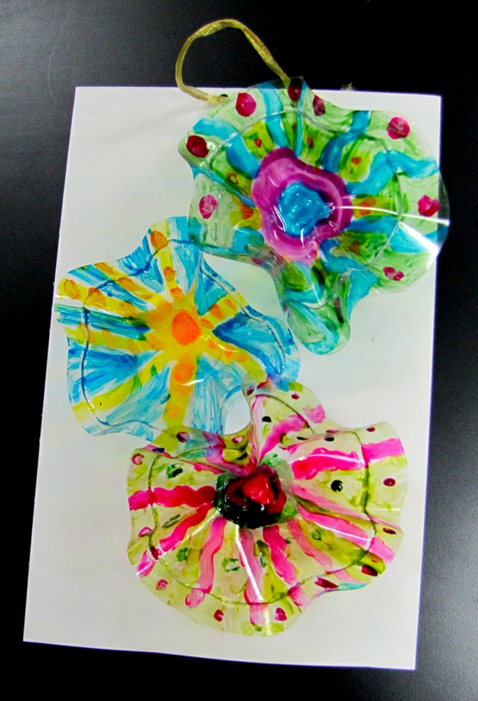 "Gr.2-Chihuly ""Glass"" Wall Sculptures - plastic, wire and glass paint by Linnie (Victoria) Aikens Lindsay"