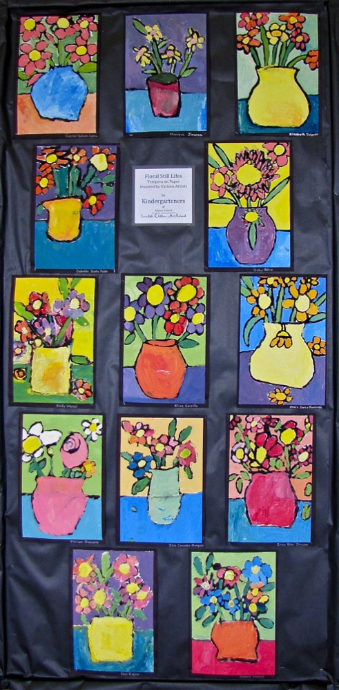 Grade K - Flower Still Lifes -tempera by Linnie (Victoria) Aikens Lindsay