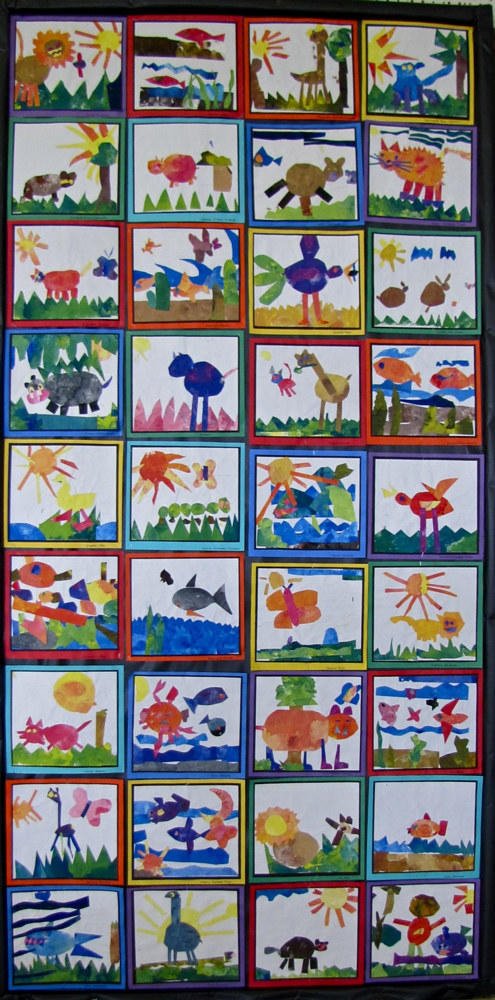 Grade K - Eric Carle Painted Paper Collages - tempera by Linnie (Victoria) Aikens Lindsay