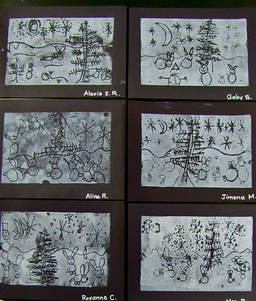 "Grade K - ""Snow Bunnies"" Printmaking by Linnie (Victoria) Aikens Lindsay"