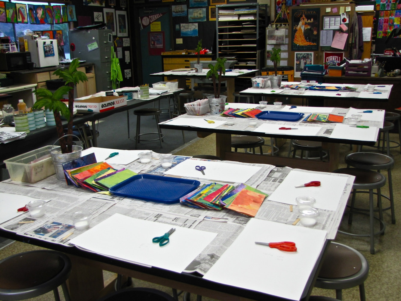 Set-up for Gr. K Eric Carle Collage Lesson by Linnie (Victoria) Aikens Lindsay