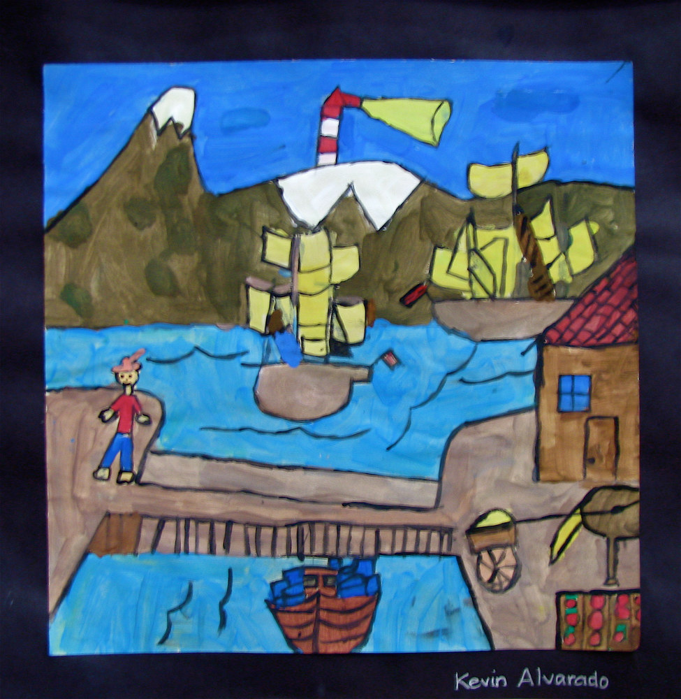 Gr.5- U.S. History - Colonial Folk Painting in Tempera by Victoria Avila