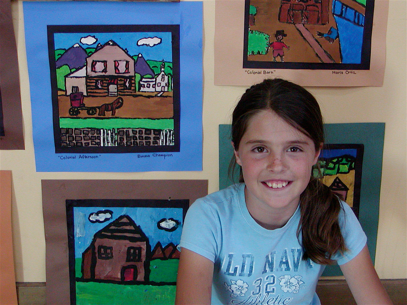 Gr.5- U.S. History - Colonial Folk Painting in Tempera by Linnie (Victoria) Aikens Lindsay