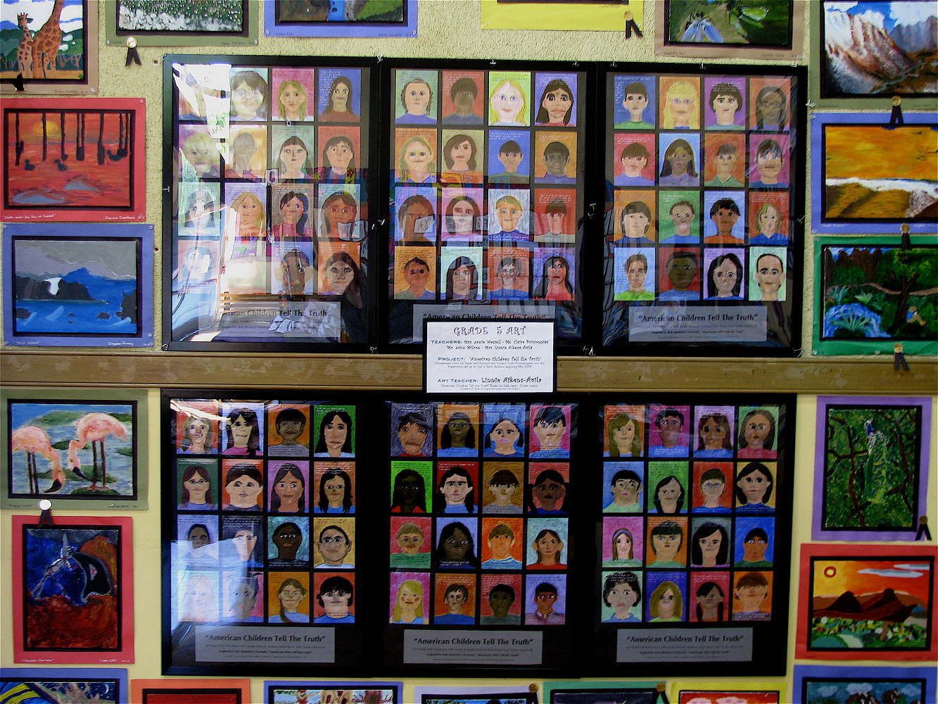 Gr.5- U.S. Gvt- Civic Responsibility - American's Who Tell the Truth Self Portraits in Oil Pastel with photoshopped text by Linnie (Victoria) Aikens Lindsay