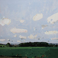 Acrylic painting July Bean Field by Harry Stooshinoff