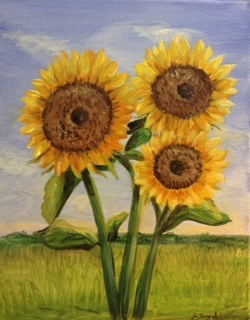 Acrylic painting Sunflowers  by June Long-schuman