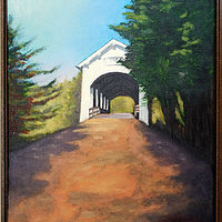 Oil painting Ritner Creek Covered Bridge by Frans Geerlings