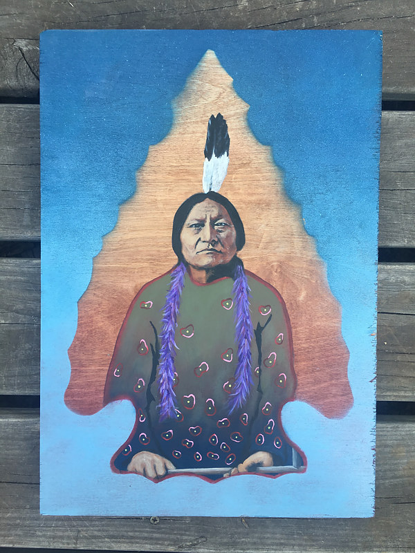 Acrylic painting Sitting Bull  by Stuart  Sampson