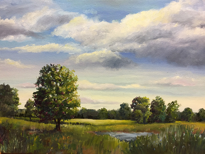 "Oil painting ""Sunny Fields"" Catskill, NY by Betty Ann  Medeiros"
