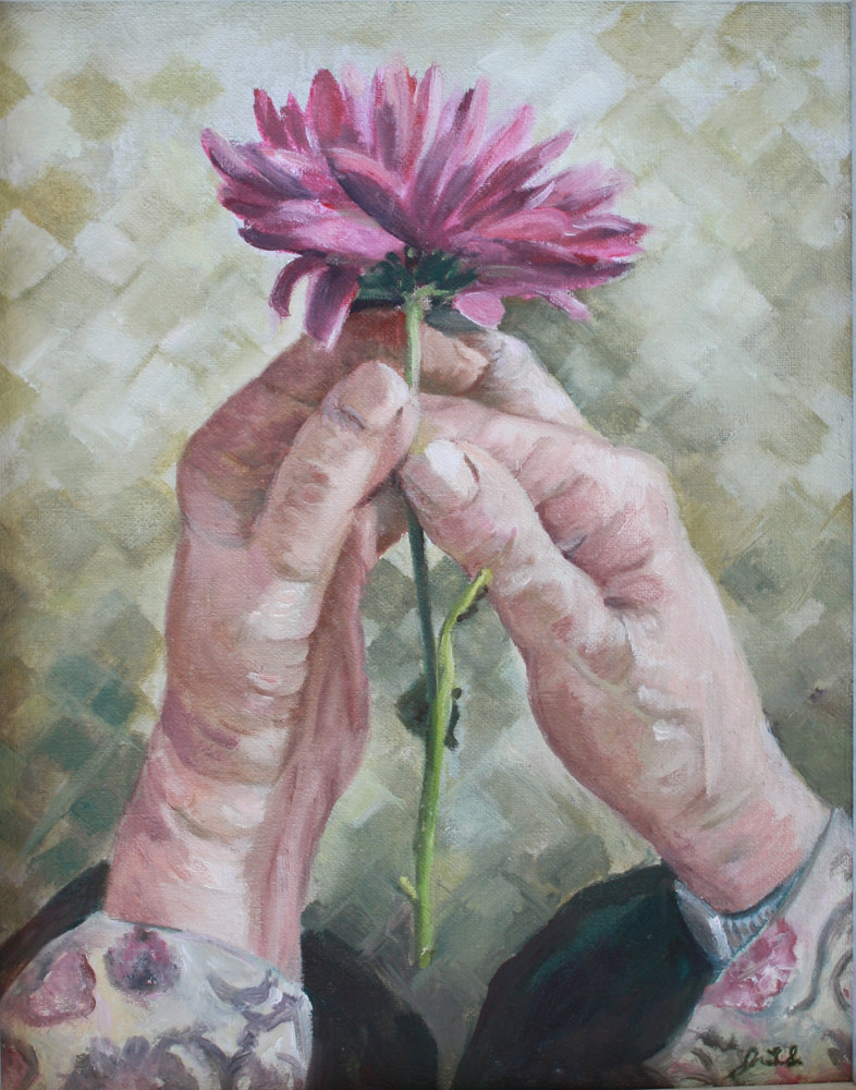 Oil painting Jean's hands by June Long-schuman
