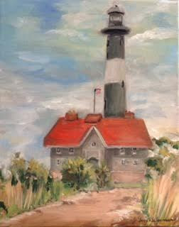 Oil painting Fire Island Changing Skies  by June Long-schuman