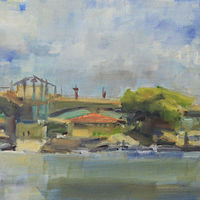"Wabasha Bridge, oil on canvas, 12"" x 24"" by Susan Horn"