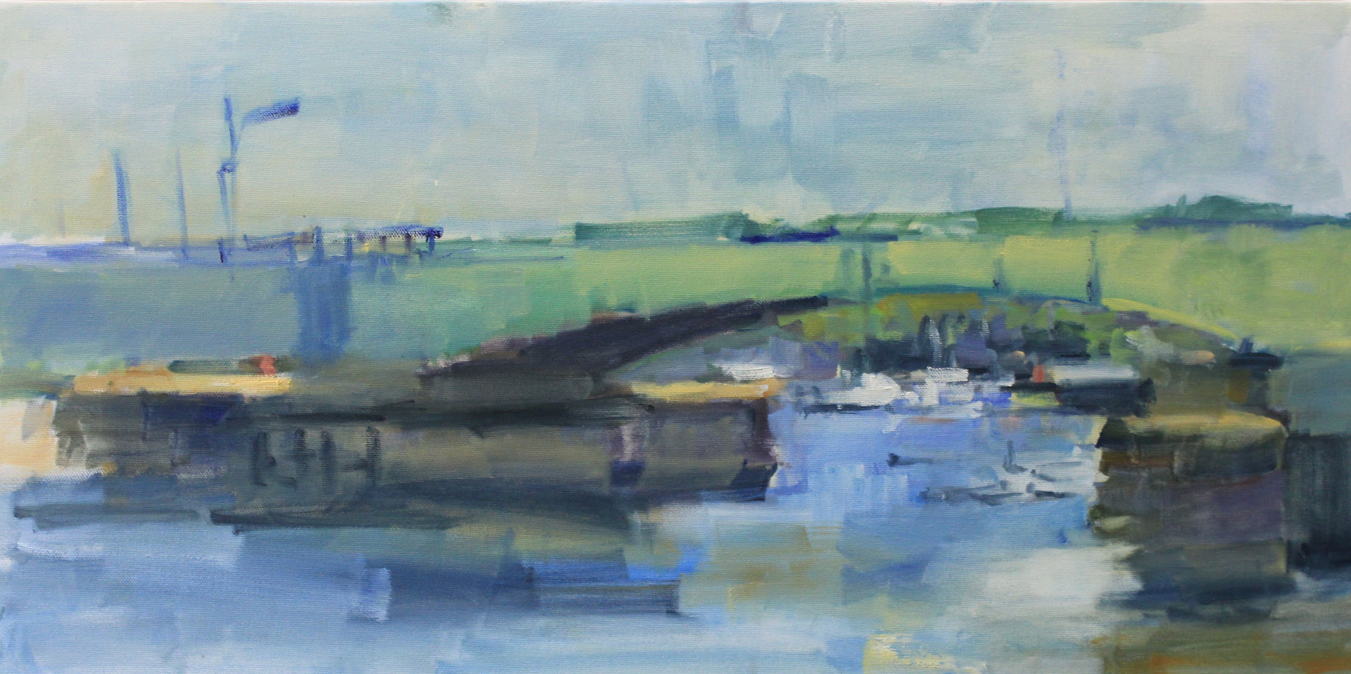 "Mississippi River Bridge,  oil on canvas,  12"" x 24"" by Susan Horn"