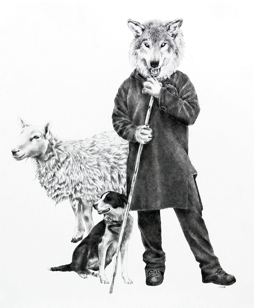 Drawing Wolf Turned Shepherd by Ellen Cornett