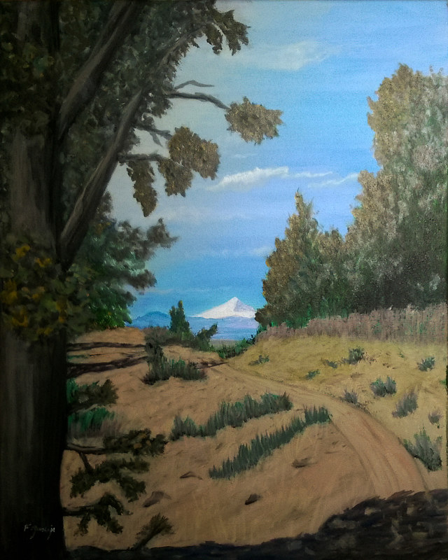 Oil painting Oregon Cascade Trail by Frans Geerlings