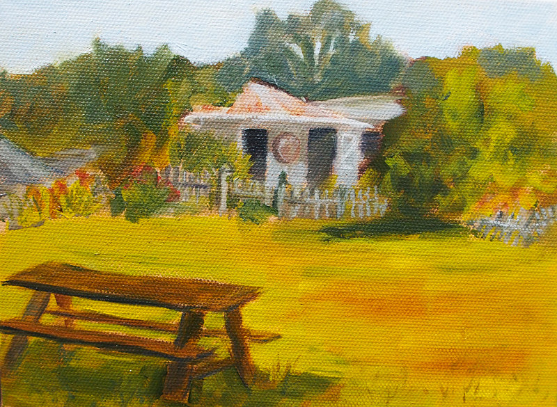 Oil painting Farm Picnic by Michele Barnes