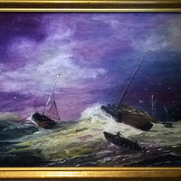 Oil painting Dutch Seascape 18x24 Oil Painting by Frans Geerlings