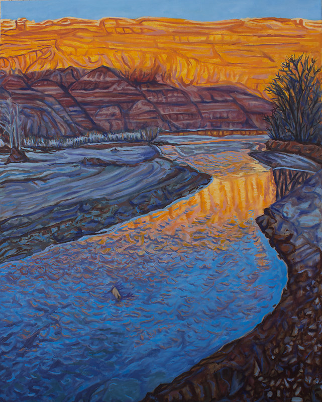 Oil painting The Sun Sets on the Paria by Crystal Dipietro