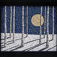 Moonlit Birches by Linda Biggers