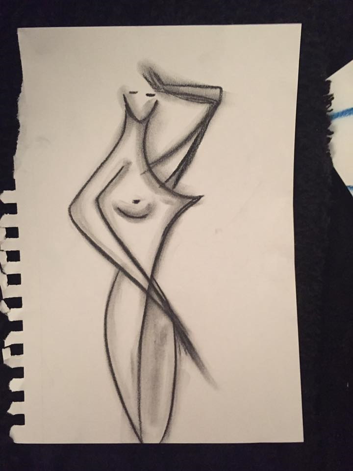 Drawing short hair nude by Ann Marie  Vancas
