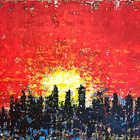 Acrylic painting sunset by Jeffrey Newman
