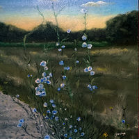 Oil painting Wild flowers at sunset at Minto Brown Island by Frans Geerlings